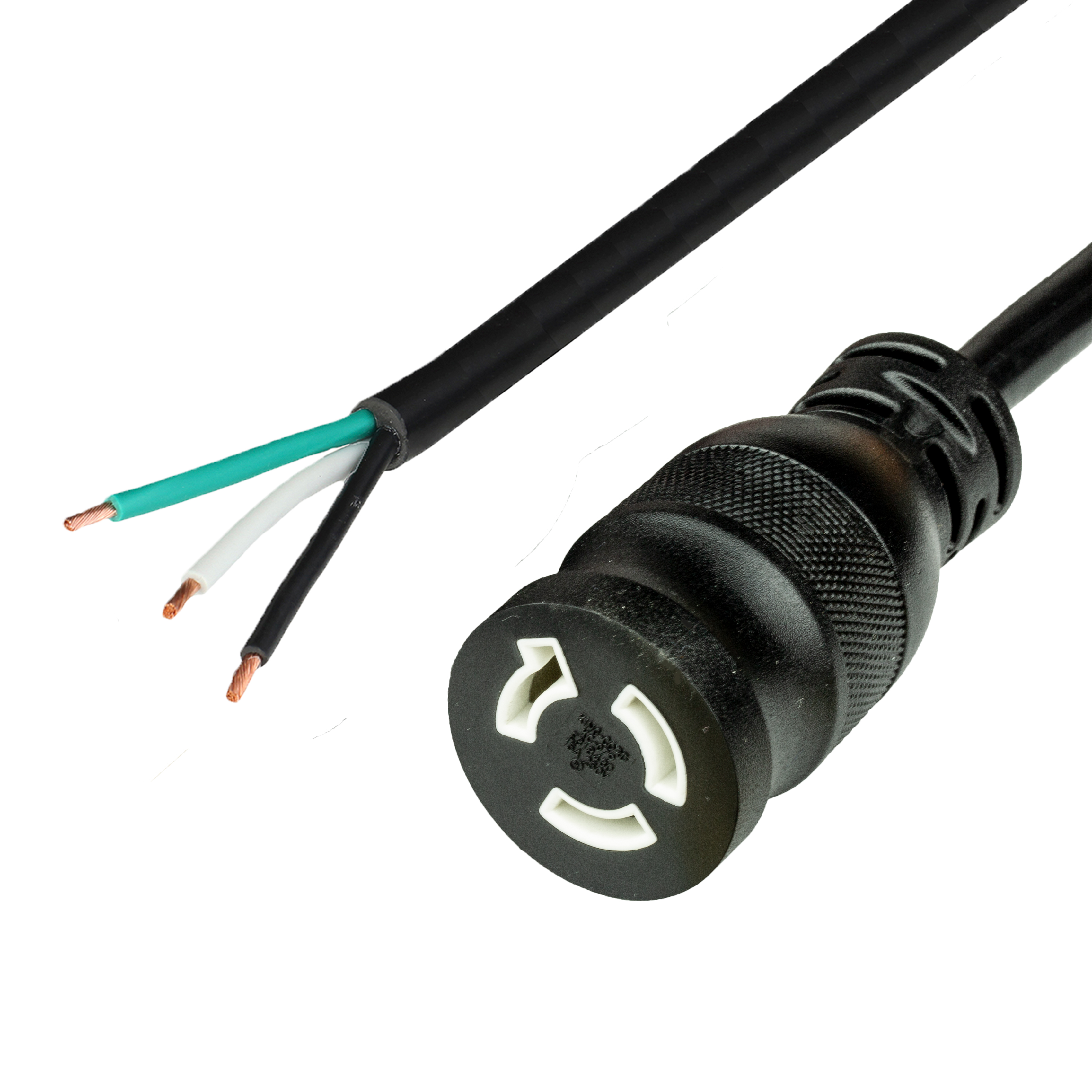 1FT OPEN 2in (ROJ + 0.25in Strip) to NEMA L6-15R (female twist lock) 15A 250V 14awg-3c SJTOW 105c Power Cord - BLACK