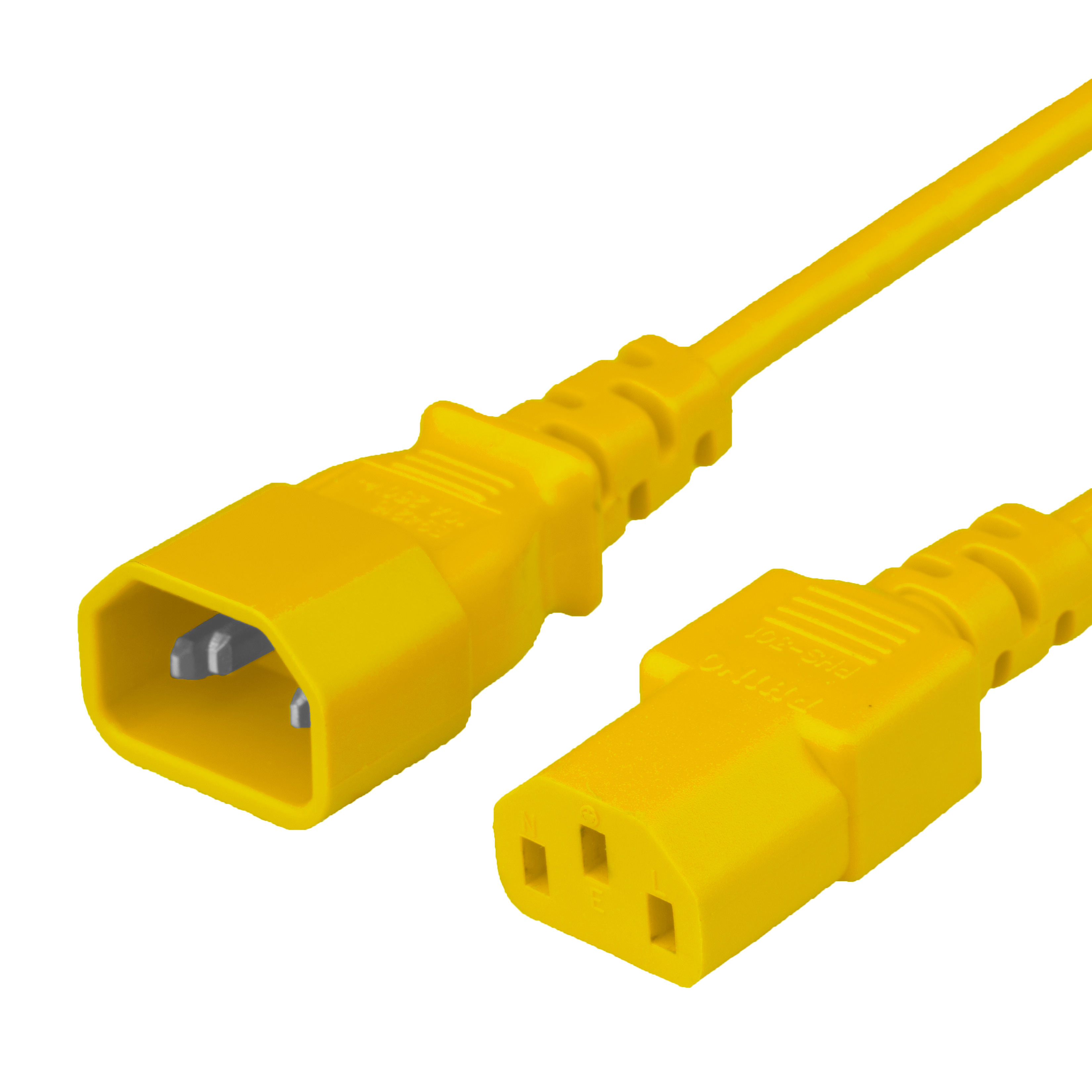 1FT C13 C14 10A 250V 18/3 SJT YELLOW Power Cord