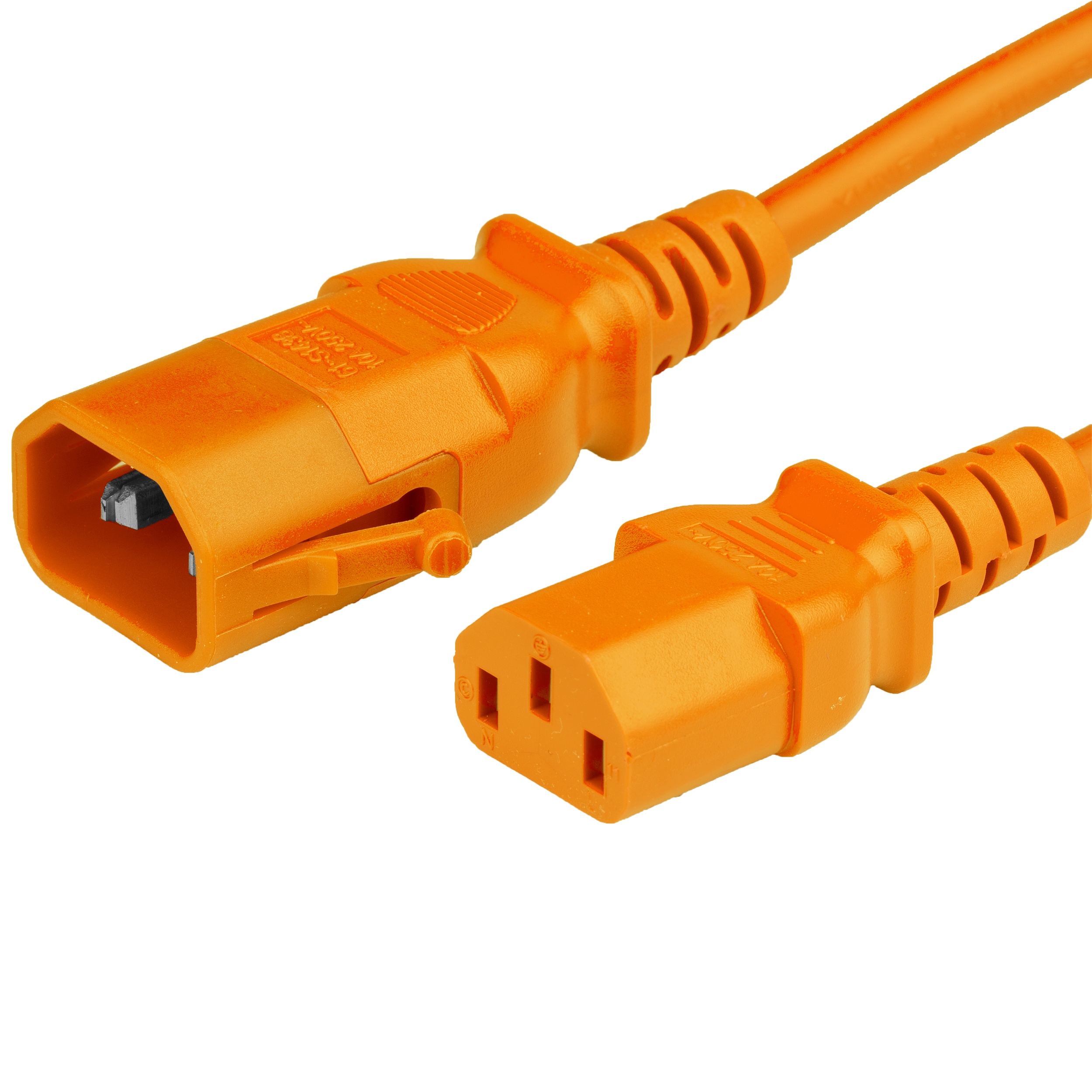 3FT P-LOCK C14 to C13 15A 250V 14awg 105c SJT ORANGE