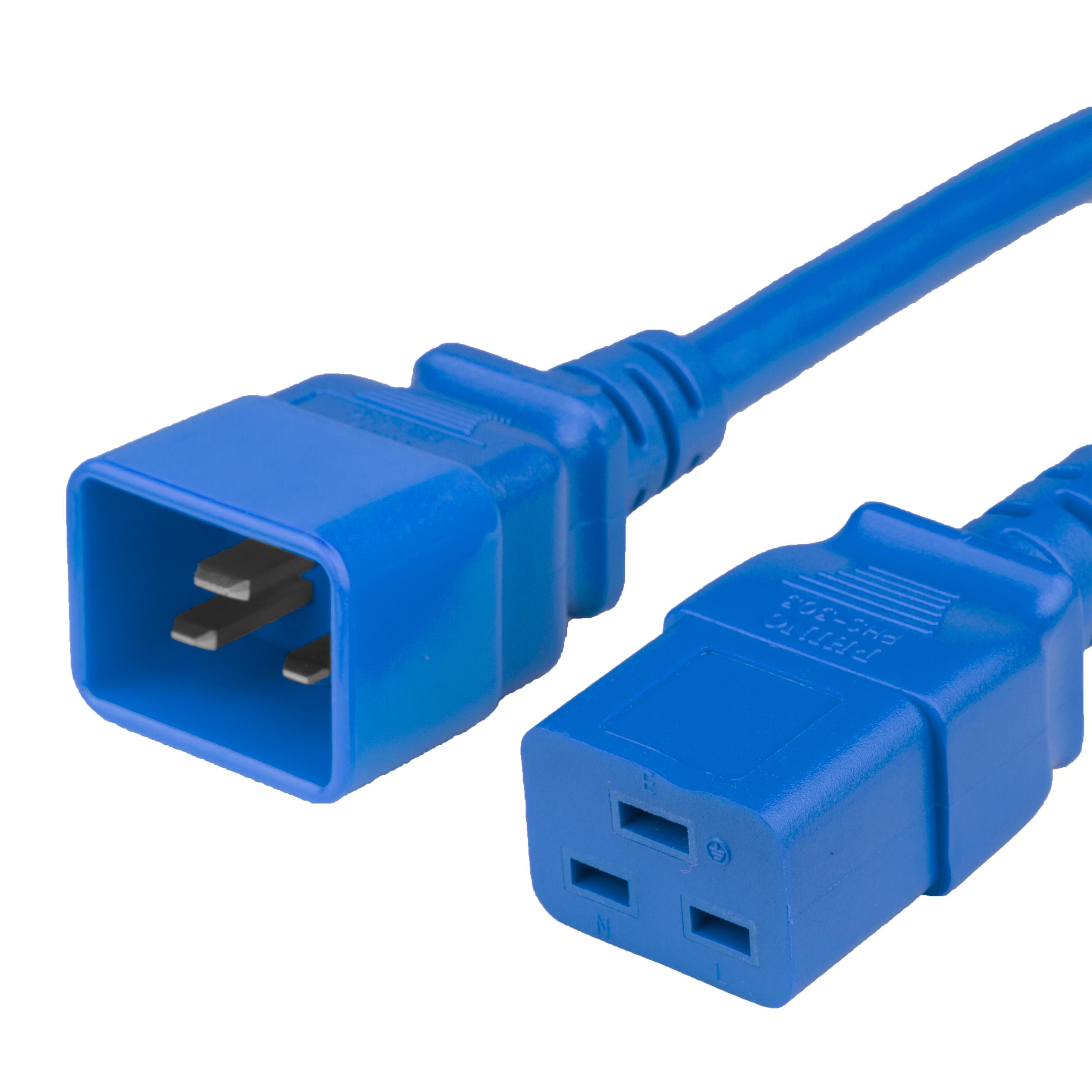 1.5FT C19 C20 20A 250V BLUE Power Cord