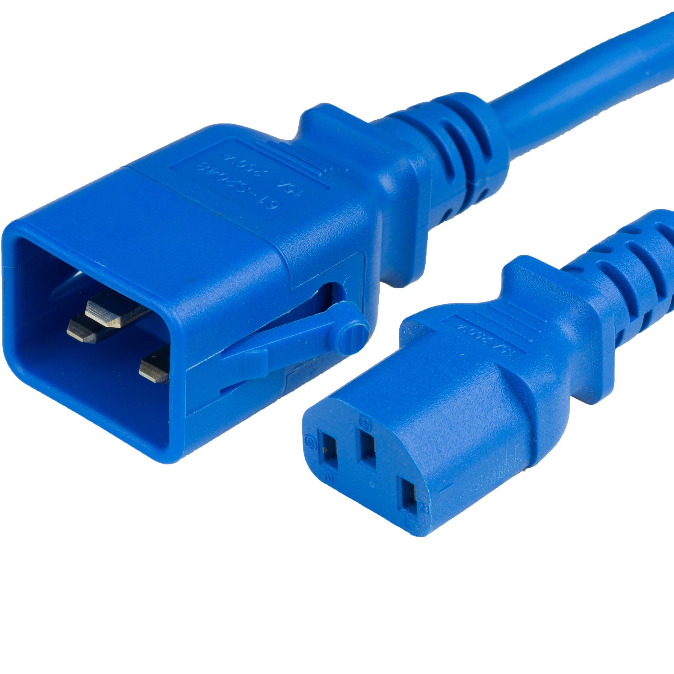 3FT P-LOCK C20 to C13 14awg SJT 105c 15A 250V BLUE Power Cord