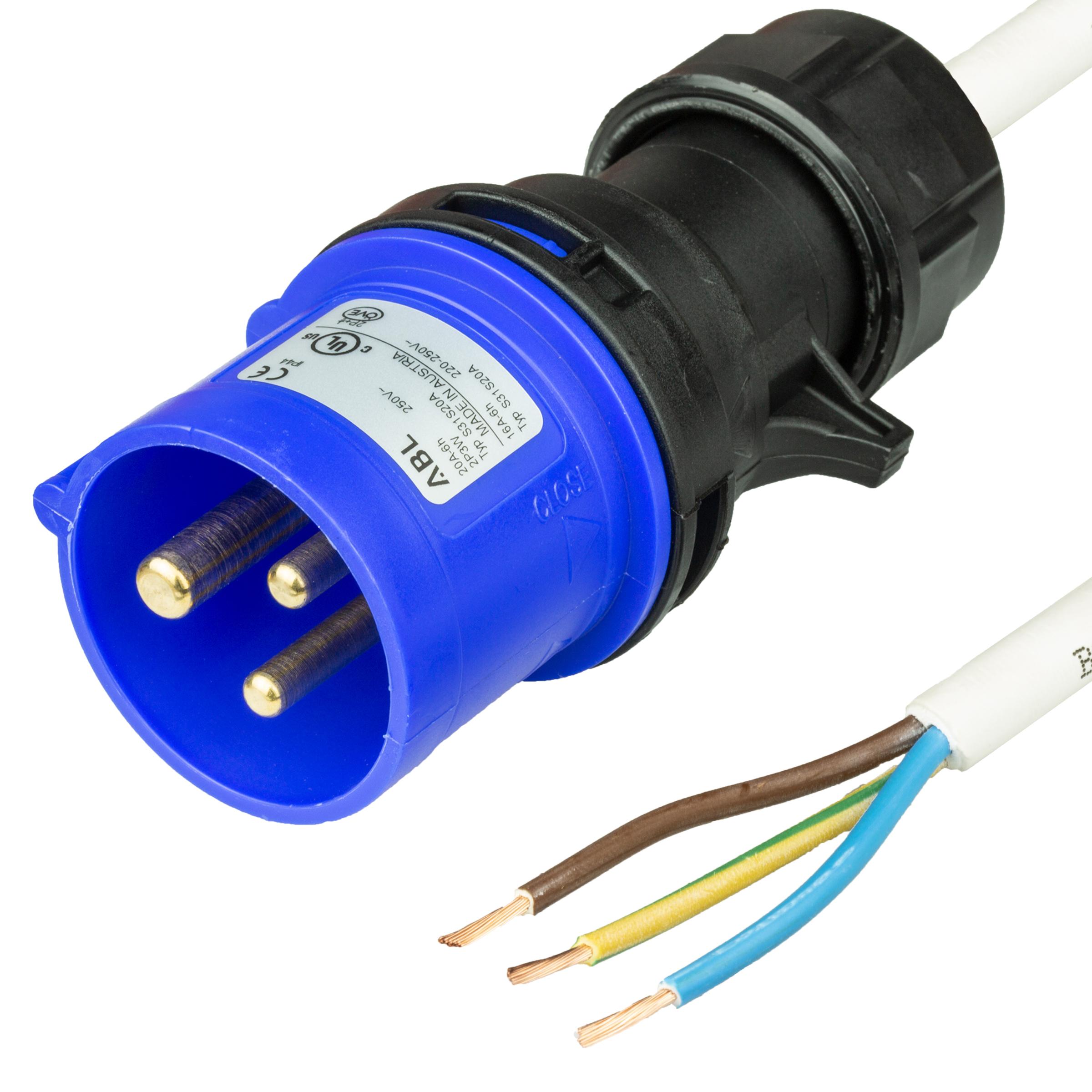 Photo of 1m (3.25FT) IEC60309 6H 2P+E BLUE PLUG to OPEN 1.5mm2 LSZH WHITE Cordage