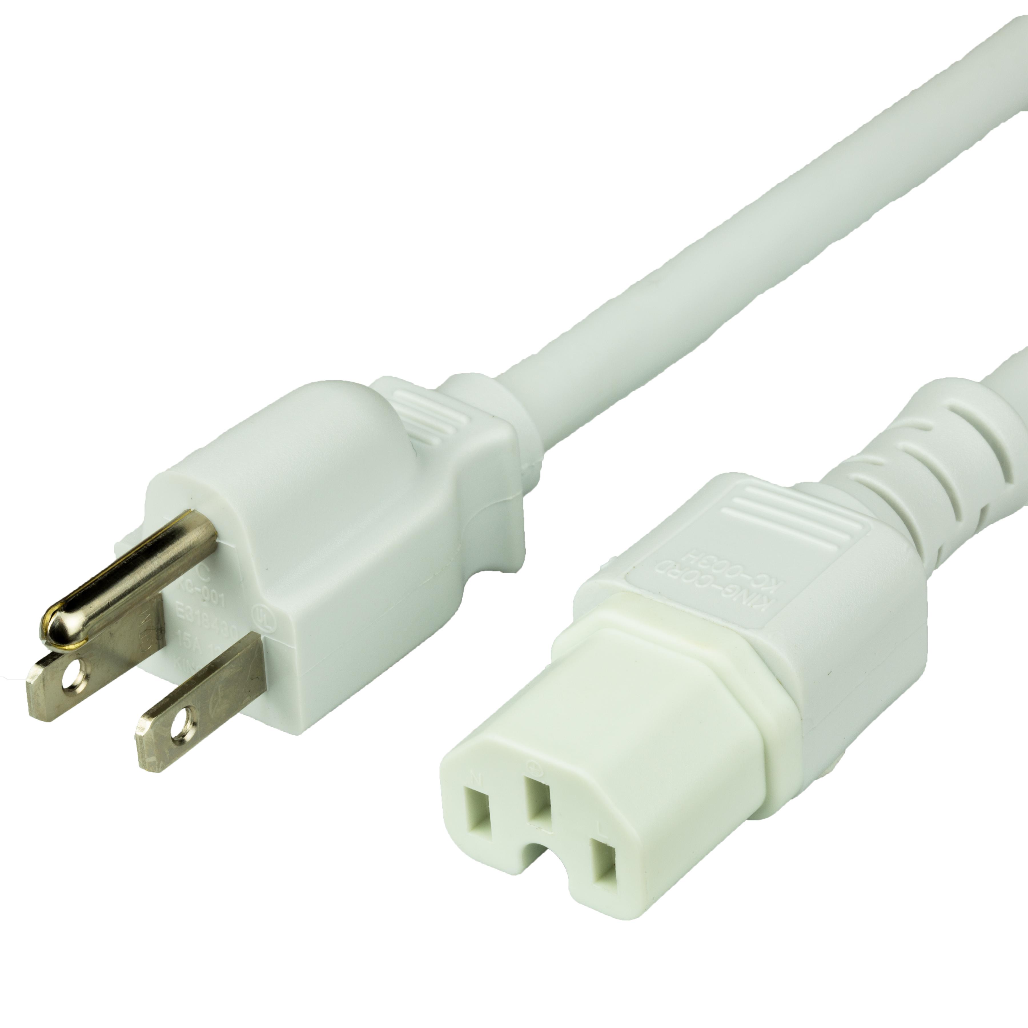 6FT NEMA 5-15P to IEC60320 C15 15A 125V 14awg SJT Power Cord - WHITE