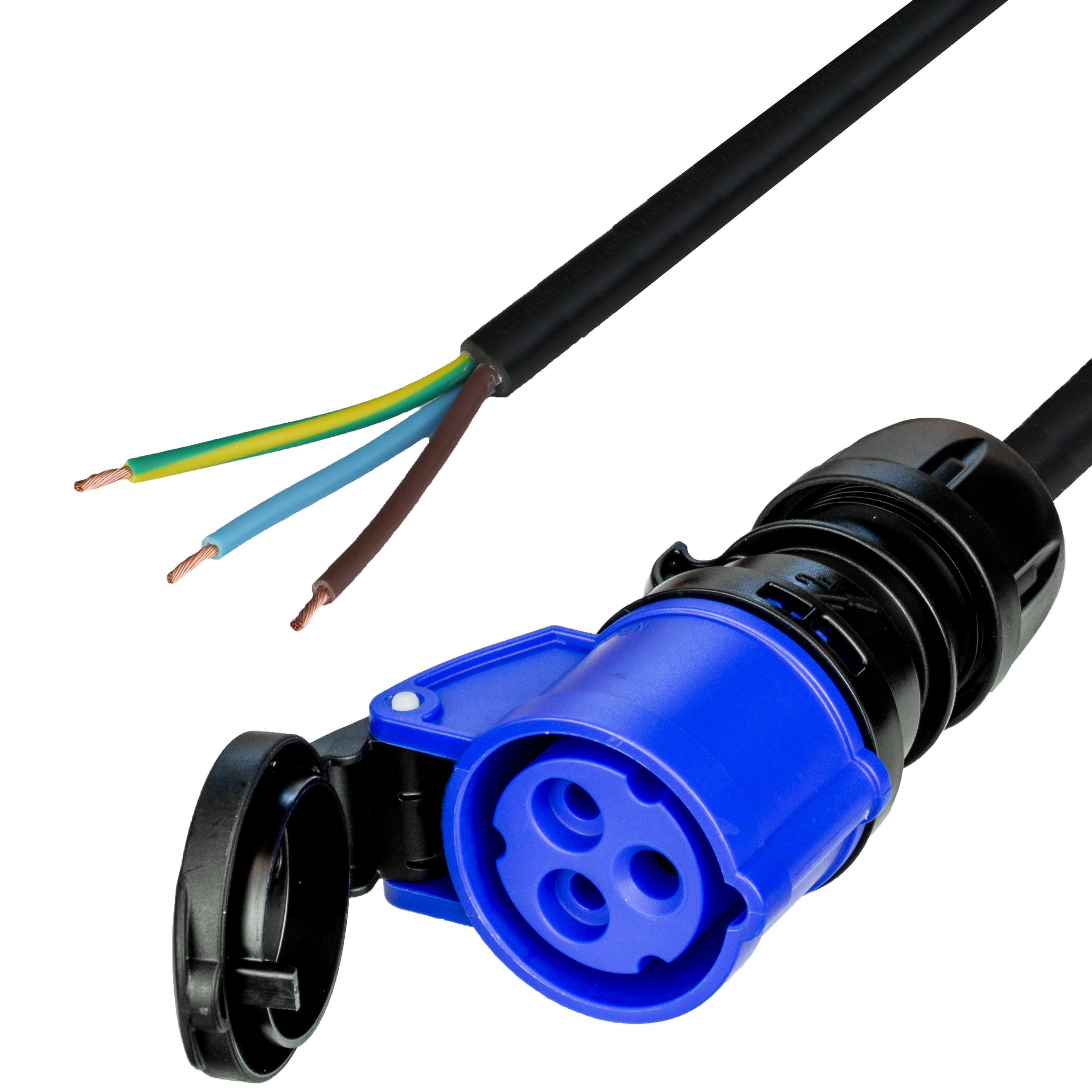 4m (13FT) IEC60309 6H 2P+E BLUE CONNECTOR (FEMALE) to OPEN 1.5mm2 LSZH BLACK Cordage