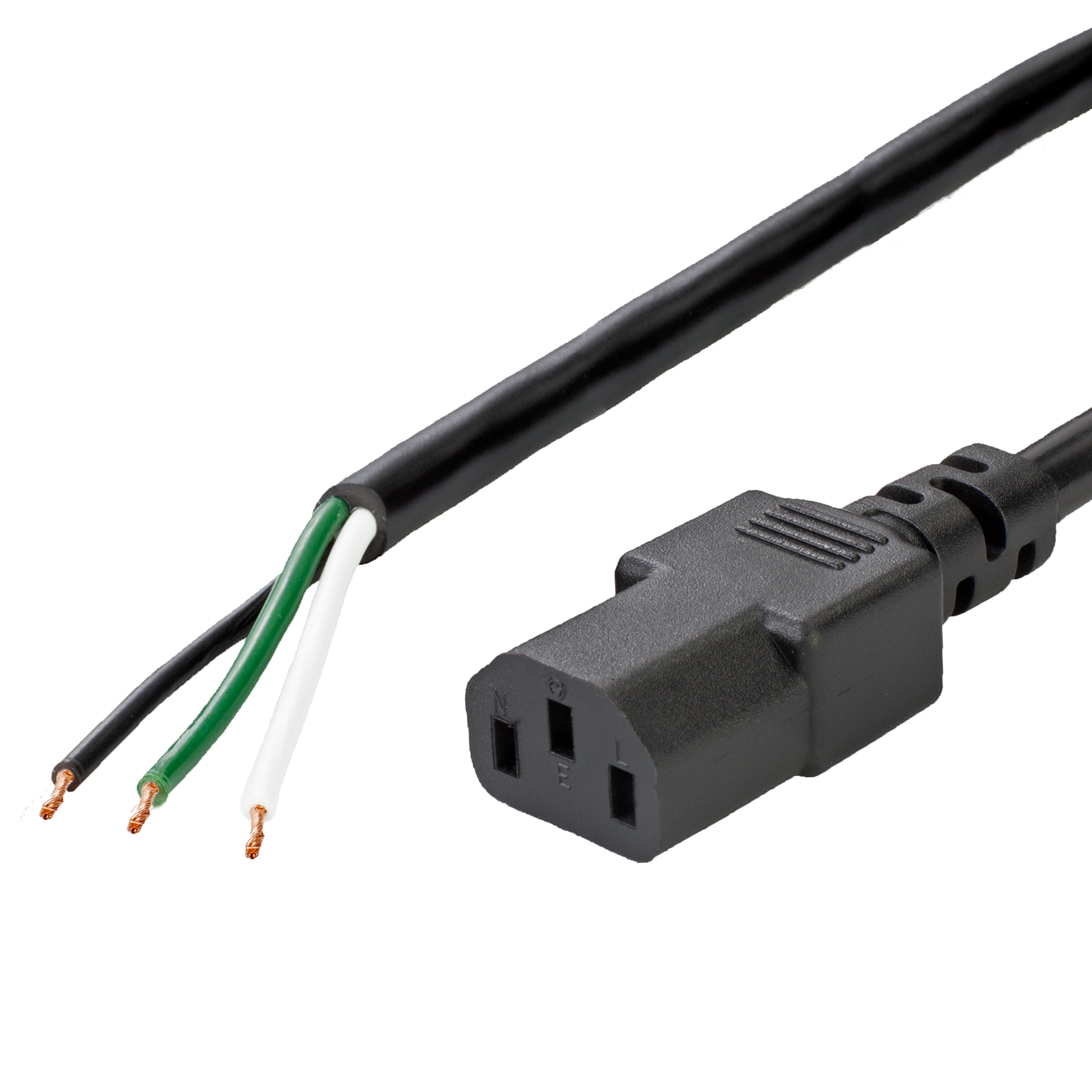 9FT Open to C13, 13A 16/3 SJT, Black Power Supply Cord