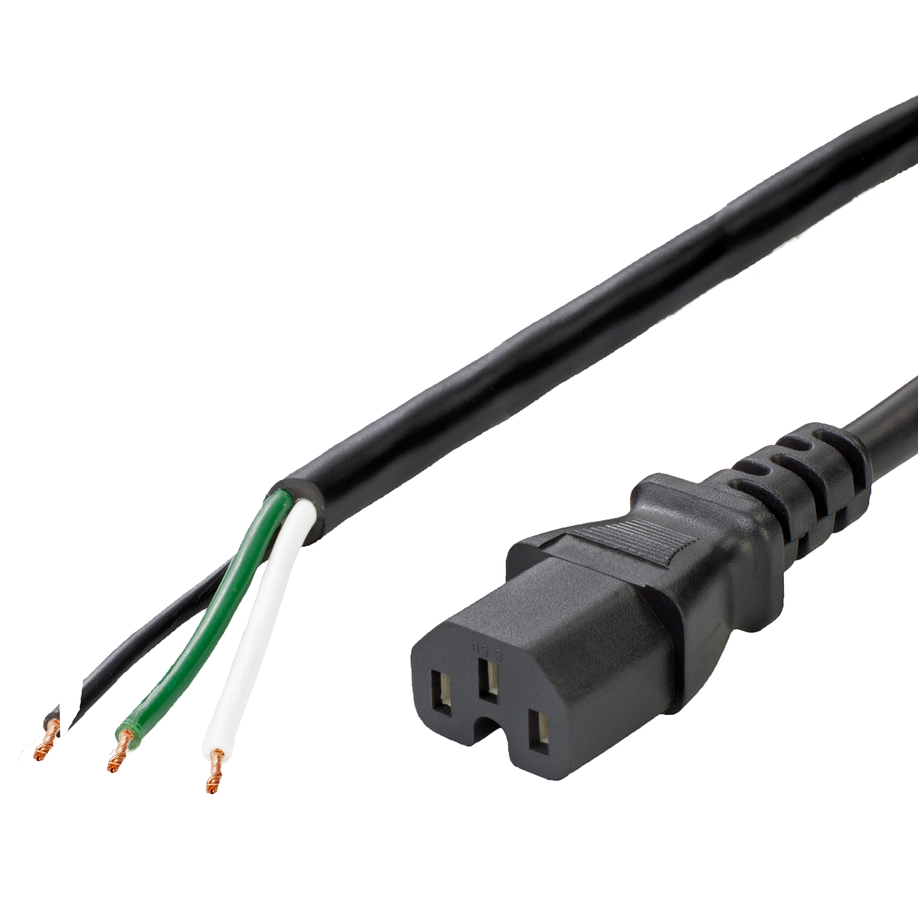 15A IEC 60320 C15 to Open Ended Power Cable, Black, 15FT, NACC