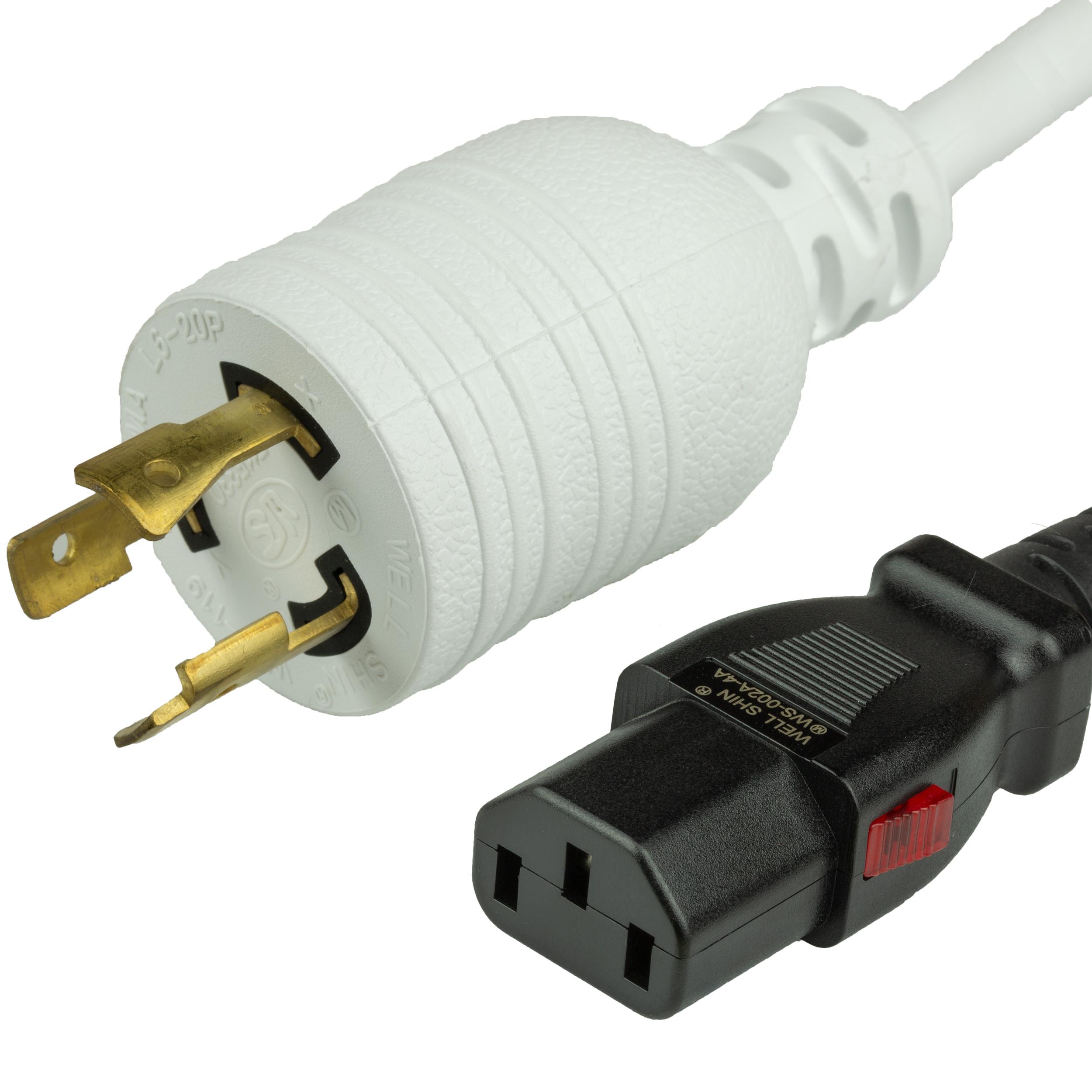 15A A-Lock C13 L6-20P Power Cords - WHITE