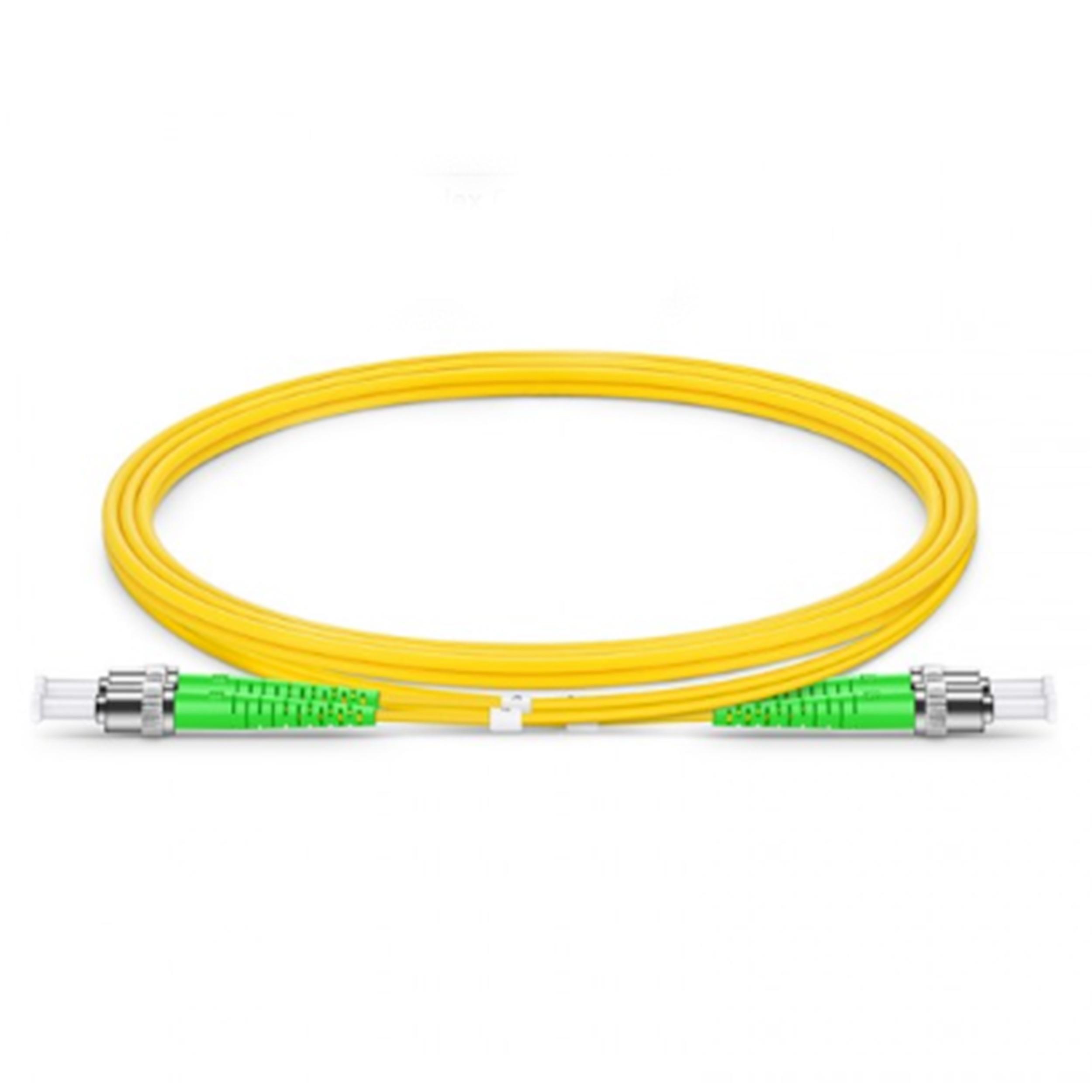 OS2 ST APC to ST APC 2.00mm Singlemode Duplex Fiber Optic Cable 5 Meter (16ft) Yellow
