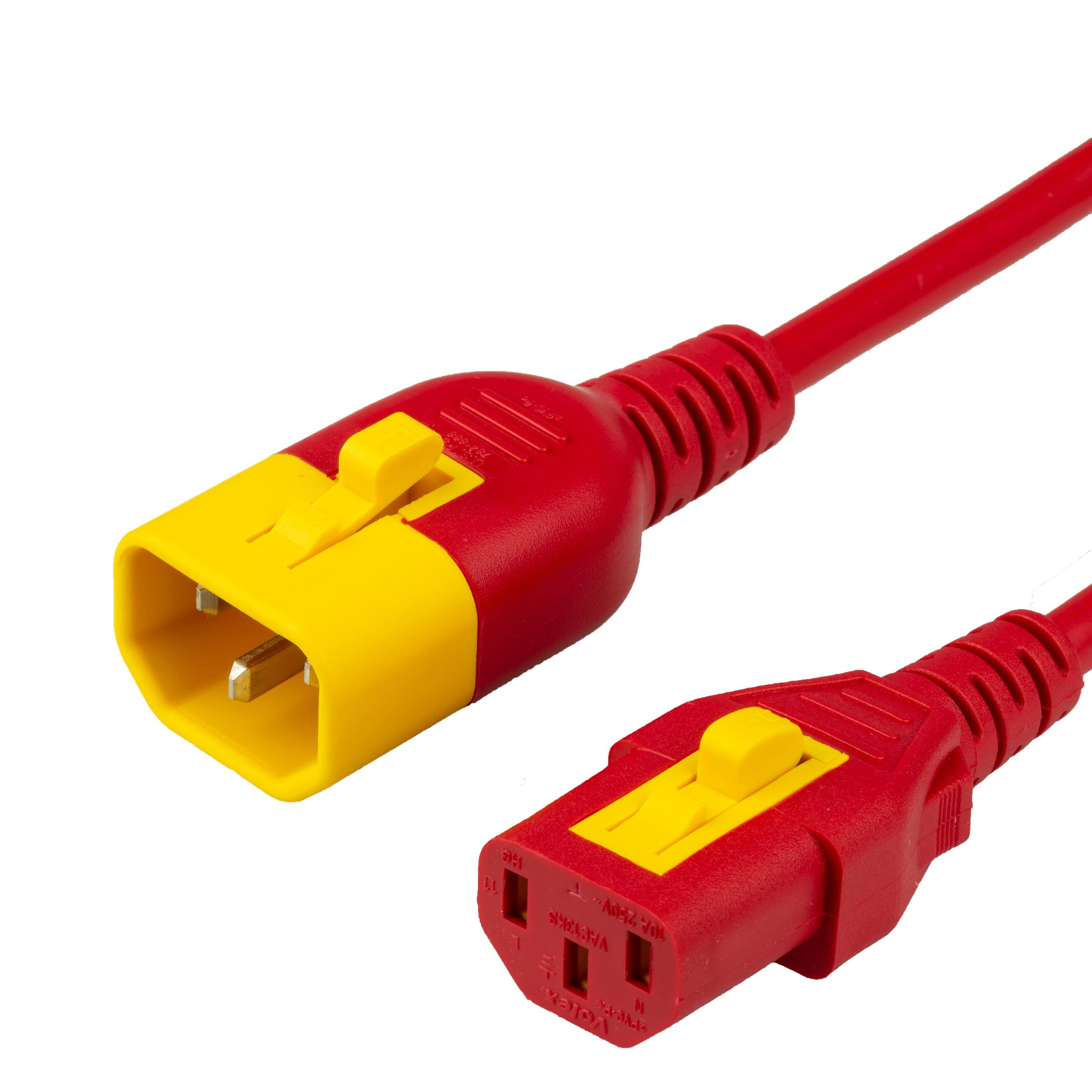 2FT C13 C14 V-LOCK 10A 250V RED Power Cord