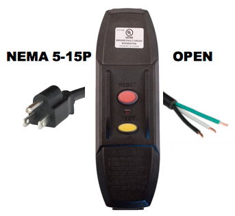 10FT NEMA 5-15P to INLINE GFCI MANUAL RESET to OPEN 15A 120V POWER CORD - BLACK