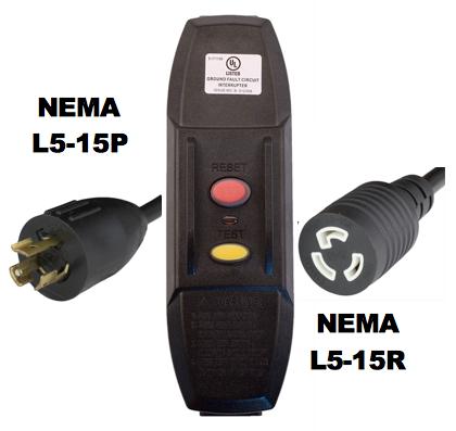 MANUAL RESET - INLINE STYLE - NEMA L5-15P/R GFCI EXTENSION CORD