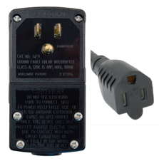 Photo of 2FT Nema 5-15P Manual Reset PLUG-HEAD style GFCI with 2 FT 5-15R Tri-Tap, 12awg-3c SJTW, YELLOW,  UL cUL, 15A 125V