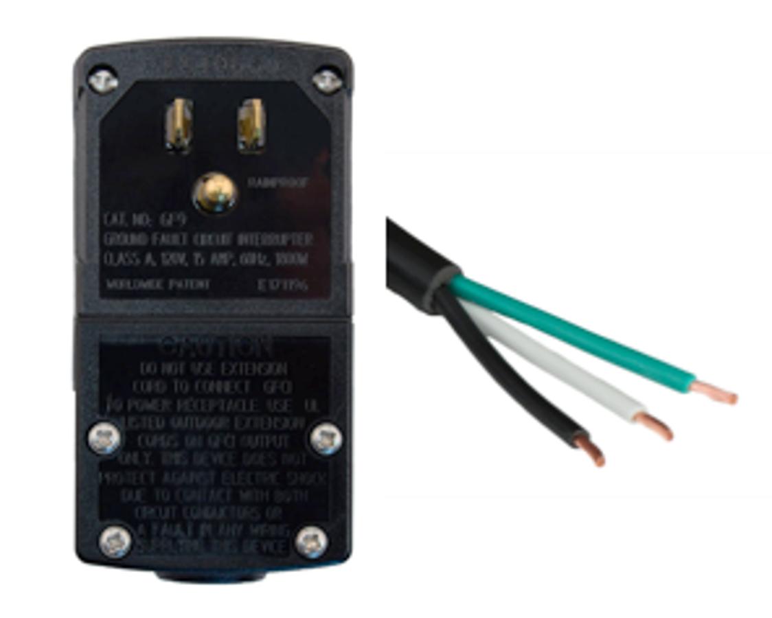 Photo of 6FT Nema 5-15p GFCI PlugHead Manual Reset to OPEN 2in ROJ + 0.25in STRIP 10A 120V Power Cord - BLACK