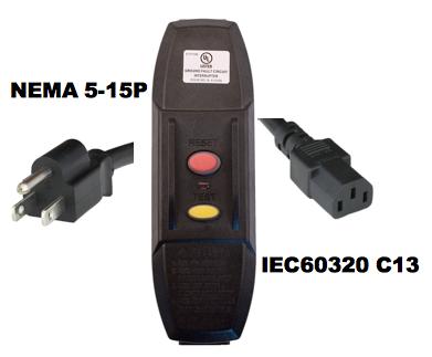 6FT Nema 5-15p GFCI PlugHead Manual Reset to IEC60320 C13 10A 120V Power Cord - BLACK