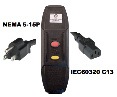 NEMA 5-15P to IEC60320 C13 GFCI Power Cords