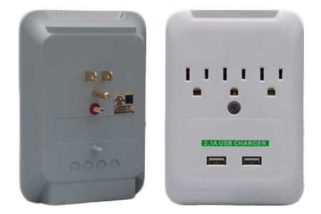 Photo of 3 Outlet Wall Tap with 2 USB Ports