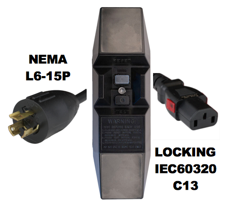 12FT NEMA L6-15P to Manual Reset In-Line GFCI to IEC60320 C13 LOCKING 15A 240V Power Cord - BLACK