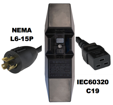 8FT NEMA L6-15P to Manual Reset In-Line GFCI to IEC60320 C19 15A 240V Power Cord - BLACK