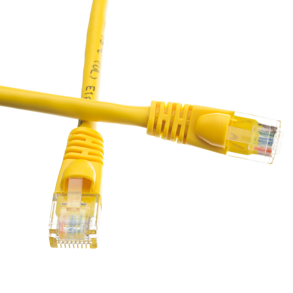 Unshielded CAT6a Yellow Ethernet Cable - Molded Boot / Snagless