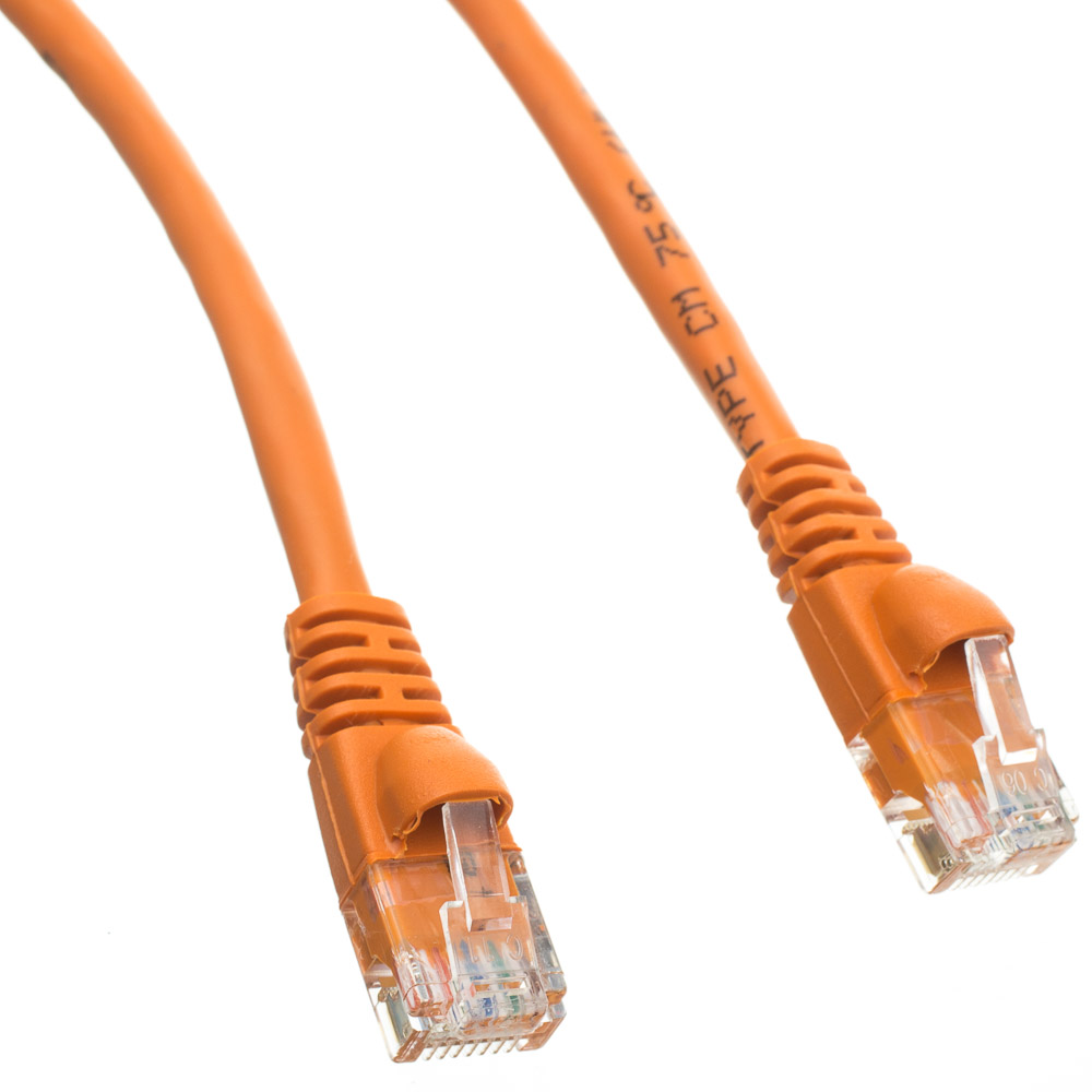 Unshielded Cat6A Orange Ethernet Patch Cable - Molded Boot/Snagless