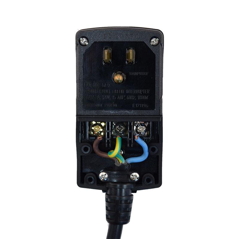 GFCI, Nema 5-15P Plug-Head, Manual Reset, Black, 10A 125V UL