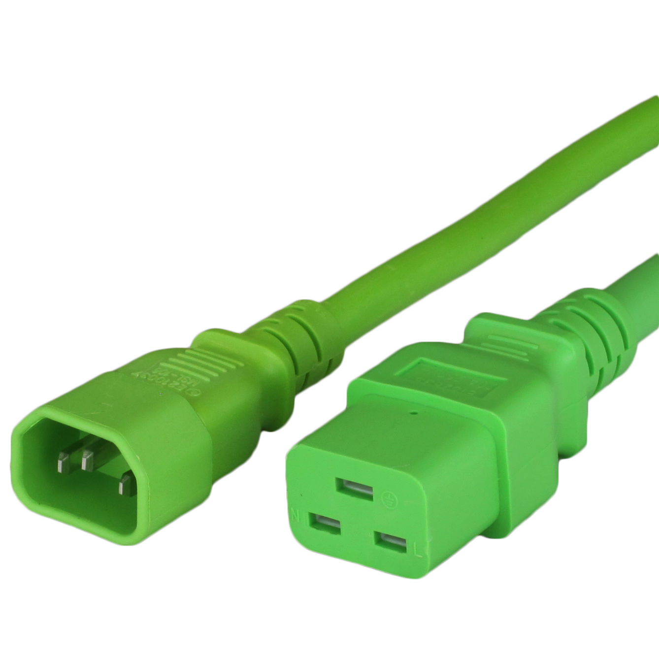 15A C14 C19 Power Cords - GREEN