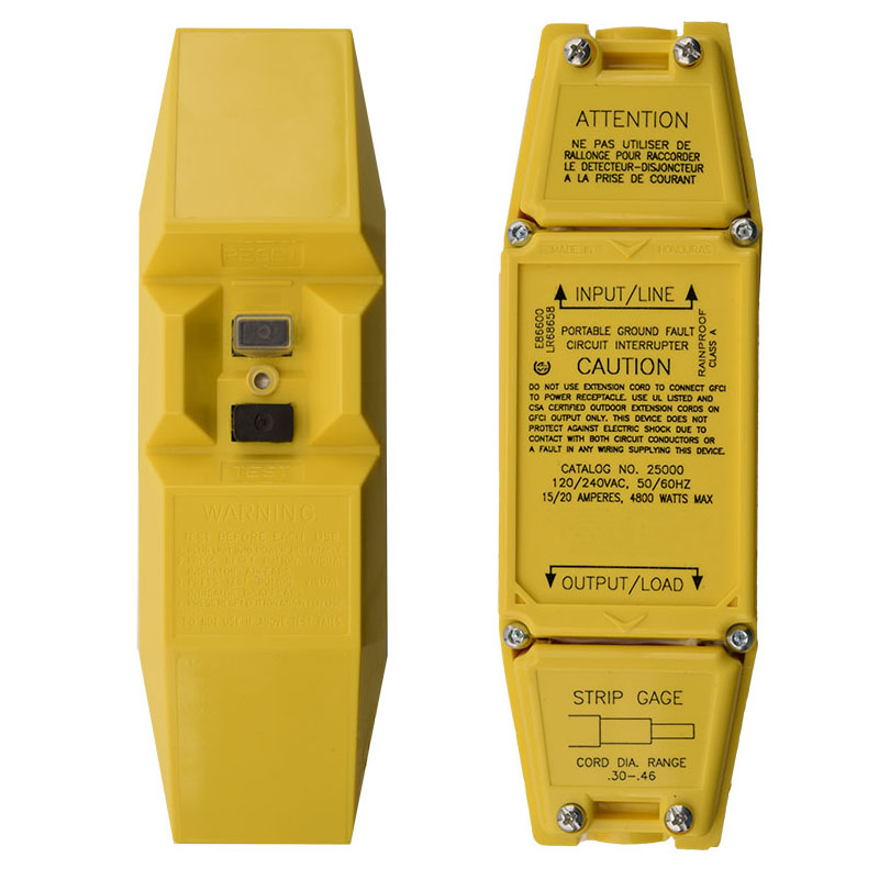 20A 120/240V MANUAL RESET User Attachable In-Line GFCI - YELLOW