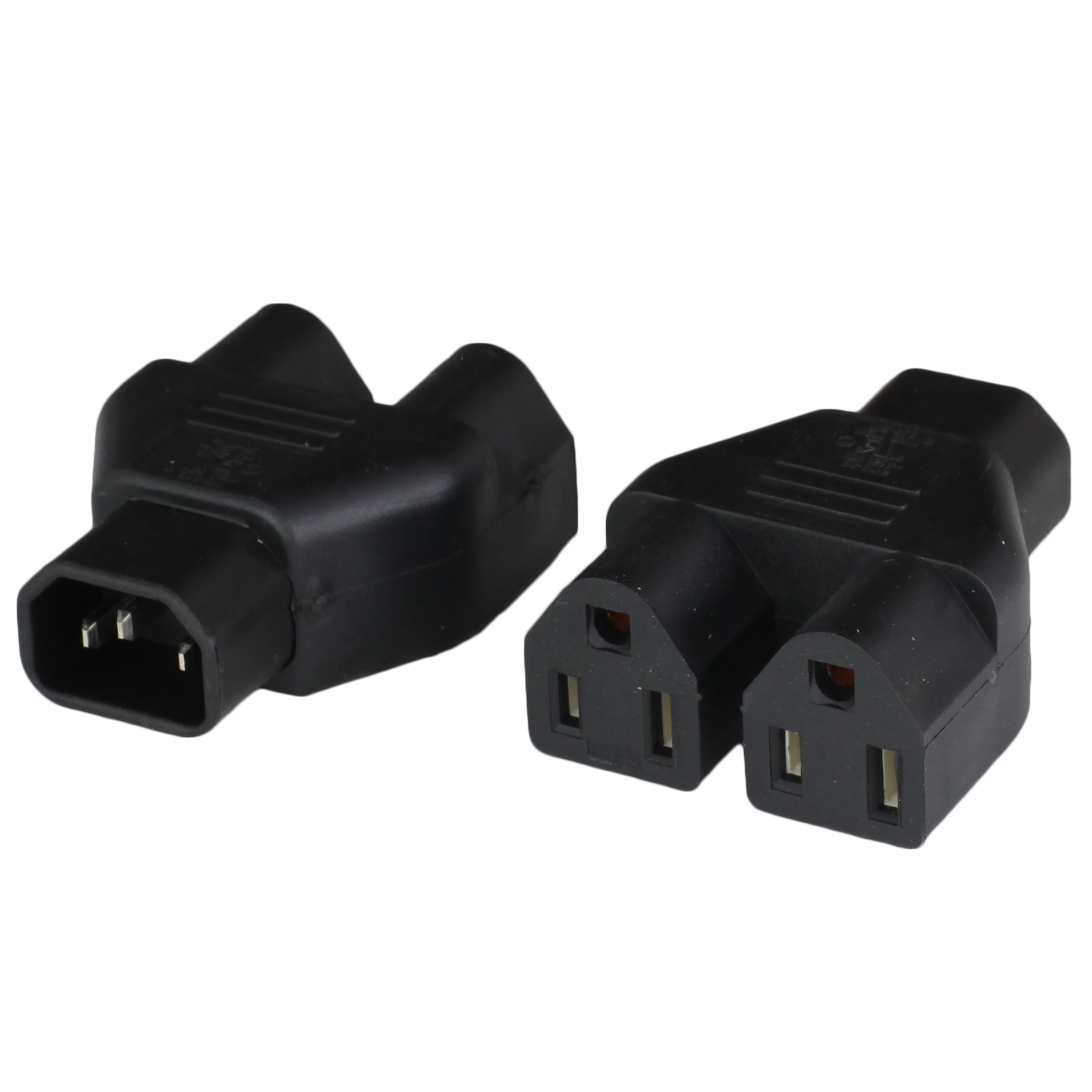 <p>This IEC 60320 C14 Plug Adapter (Adaptor) allows you to convert an IEC 60320 C13 connector/outlet into two NEMA 5-15R outlets.</p>