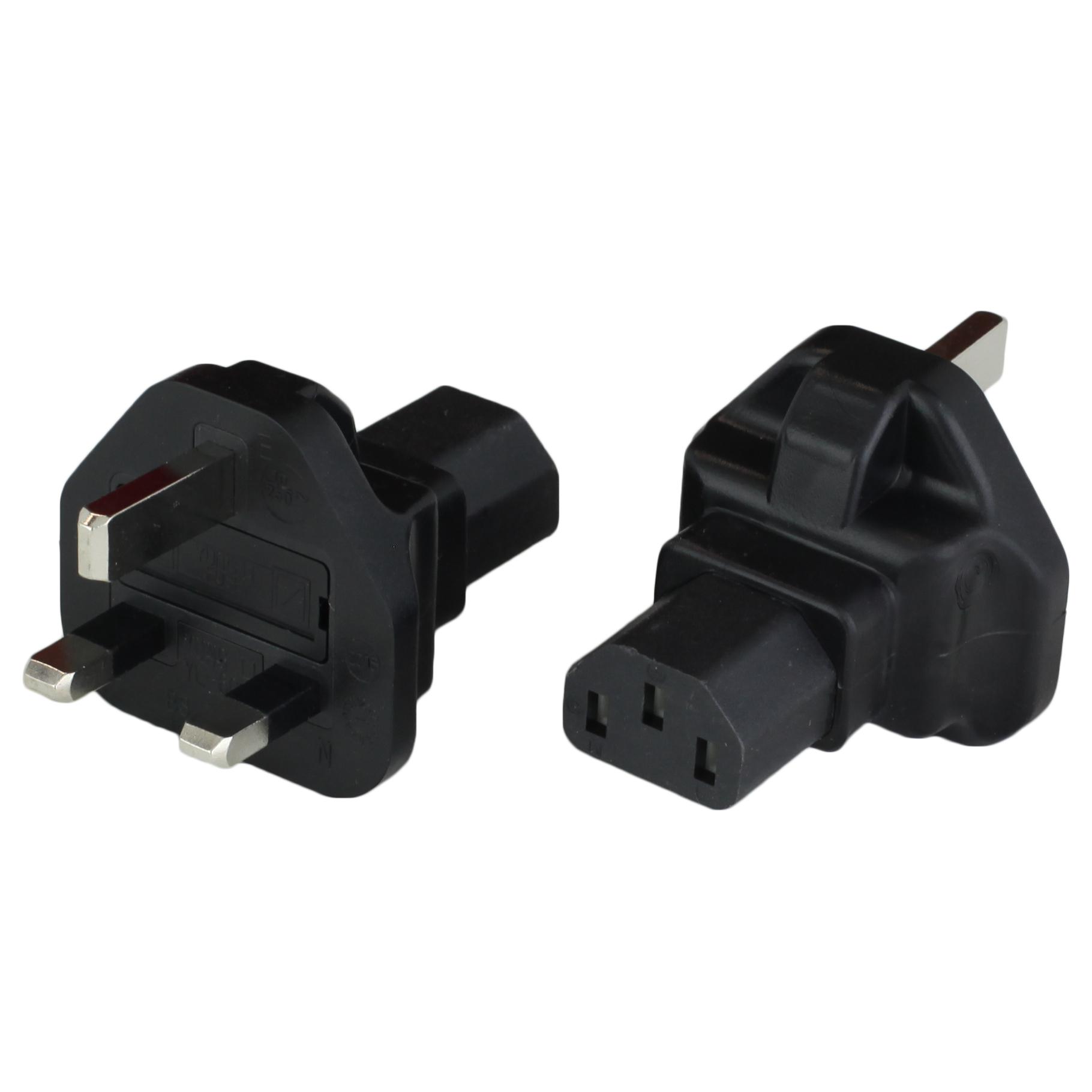 <p>Adapter UK BS1363 Plug to IEC60320 C13 10A 250V - BLACK. United Kingdom (British) BS1363 3-Pin Type G plug rated up 13 Amps 250 VAC. Use this for converting a UK BS1363 (female) outlet to a C13 (female) outlet. This would allow you to plug your IEC60320 C14 (male) into the C13. Possibly places the BS1363 outlet may be  used in United Kingdom, Bahrain, Brunei, Cyprus, Gambia, Grenada, Kenya, Malawi, Malta, Seychelles, Singapore, Uganda.</p>