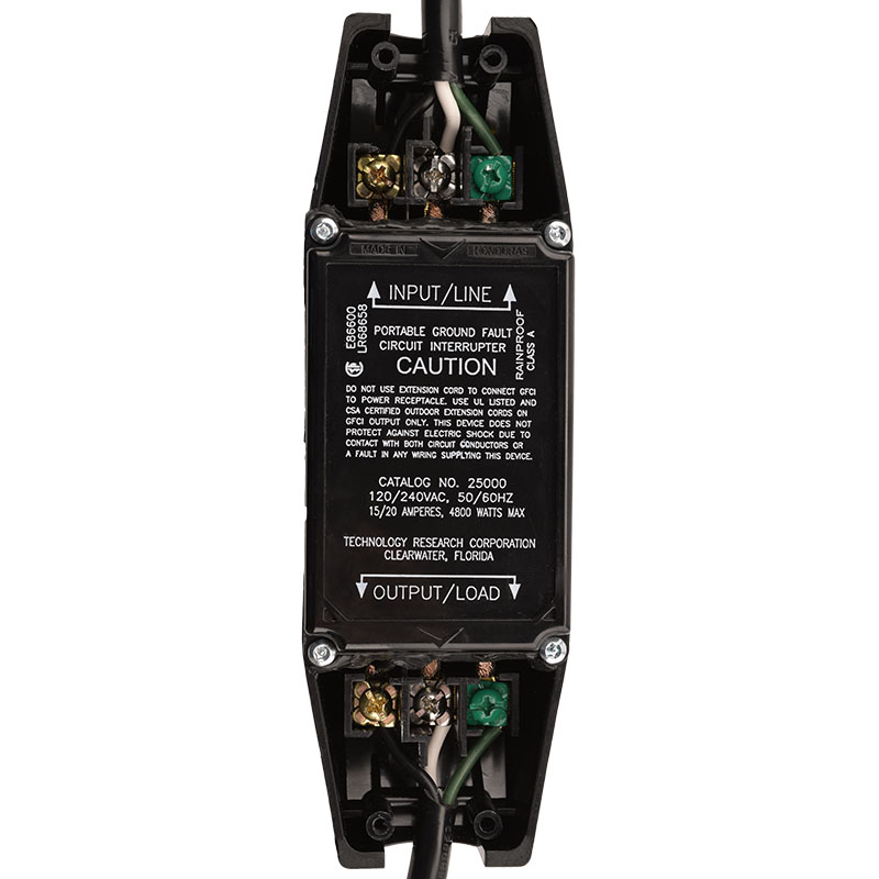 MANUAL RESET - INLINE STYLE - NEMA L6-15P to IEC60320 C13 GFCI POWER CORD