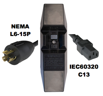 8FT NEMA L6-15P to Manual Reset In-Line GFCI to IEC60320 C13 15A 240V Power Cord - BLACK