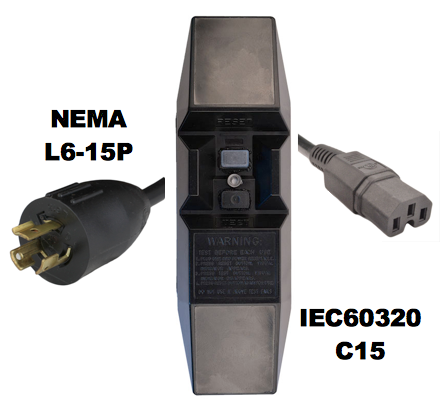 8FT NEMA L6-15P to Manual Reset In-Line GFCI to IEC60320 C15 15A 240V Power Cord - BLACK