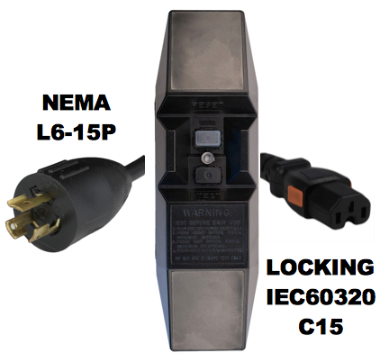 MANUAL RESET - INLINE STYLE - NEMA L6-15P to LOCKING IEC60320 C15 GFCI POWER CORD