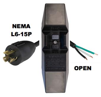 MANUAL RESET - INLINE STYLE - NEMA L6-15P to OPEN GFCI POWER CORD