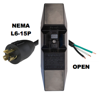 10FT NEMA L6-15P to Manual Reset In-Line GFCI to OPEN 15A 240V Power Cord - BLACK
