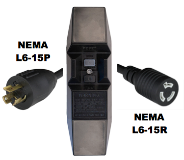 15FT NEMA L6-15P to Manual Reset In-Line GFCI to NEMA L6-15R 15A 240V Power Cord - BLACK