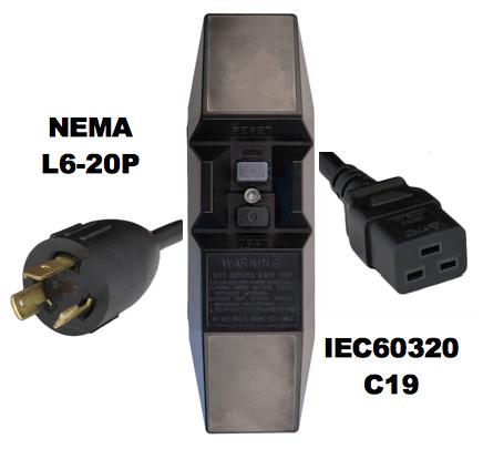 MANUAL RESET - INLINE STYLE - NEMA L6-20P to IEC60320 C19 GFCI POWER CORD