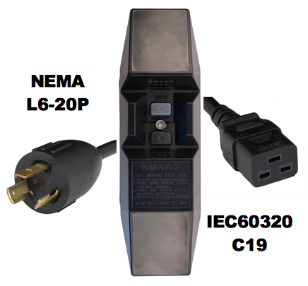 Photo of 6FT NEMA L6-20P to Manual Reset In-Line GFCI to IEC60320 C19 20A 240V Power Cord - BLACK