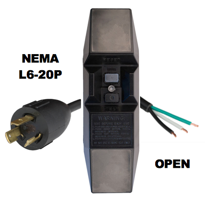 MANUAL RESET - INLINE STYLE - NEMA L6-20P to OPEN GFCI POWER CORD
