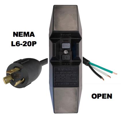 MANUAL RESET - INLINE STYLE - NEMA L6-20P to OPEN GFCI POWER CORD