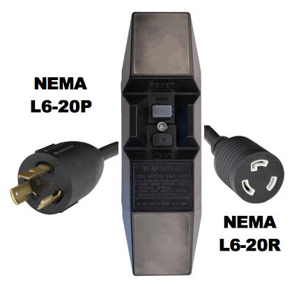 MANUAL RESET - INLINE STYLE - NEMA L6-20P/R GFCI EXTENSION CORD