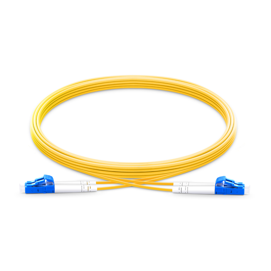 OS2 LC UPC to LC UPC 2.00mm Singlemode Duplex Fiber Optic Cable 2 Meter Yellow