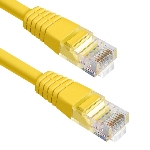 Unshielded Cat5e Yellow Ethernet Patch Cable - Molded Boot/Snagless